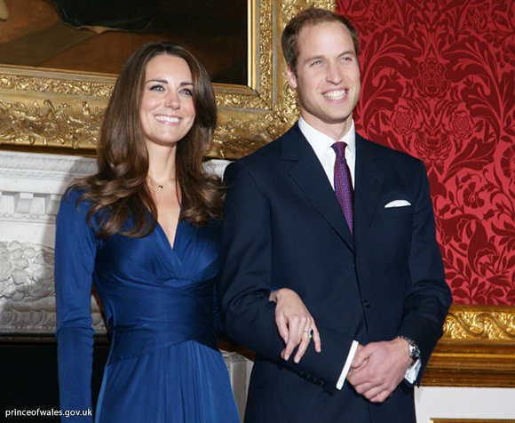Prince William and Miss Catherine Middleton announce their engagement. This is an image from a photo call at St. James's Palace.