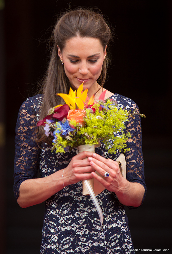 Kate with a posy of colourful flowers in Ottawa, Canada