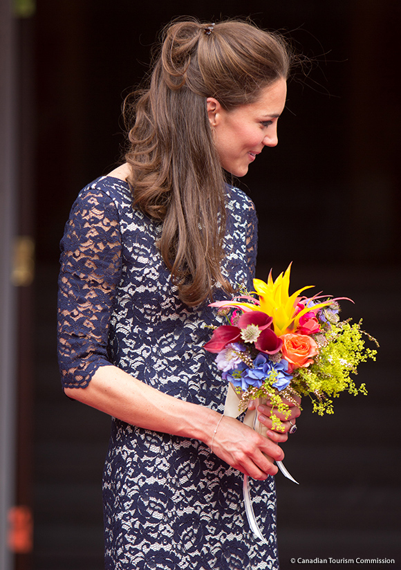 Kate's hair was put up in an elegant  style