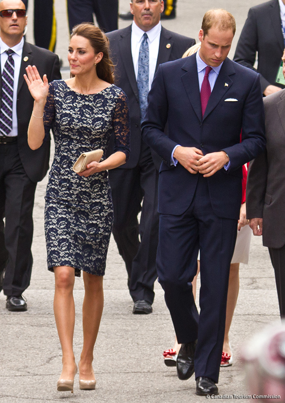 Kate Middleton wearing blue erdem dress in Ottawa, Canada during the 2011 tour