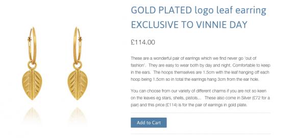 Vinnie Day Gold Leaf Earrings