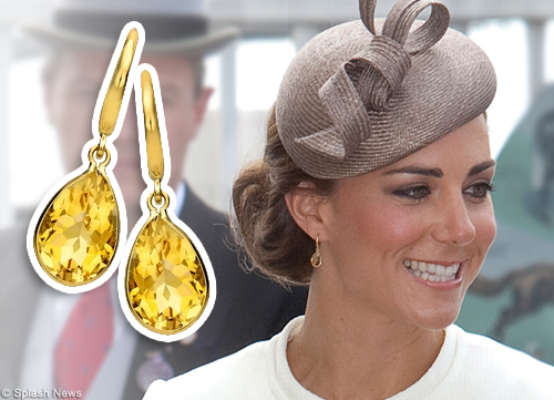 kate middleton citrine drop earrings