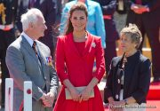 Kate looks wonderful in Red Catherine Walker coat dress