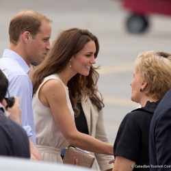Kate wears nude coloured Joseph dress in Charlottetown, PEI
