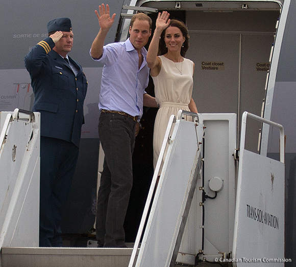 Kate wearing the Joseph Vanessa dress in Quebec.