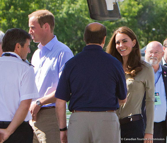 The Duke and Duchess of Cambridge arrive at the Old Town Float Base in Yellowknife to depart for Blachford Lake, Northwest Territories.