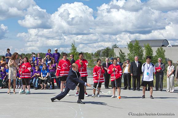 William plays street hockey