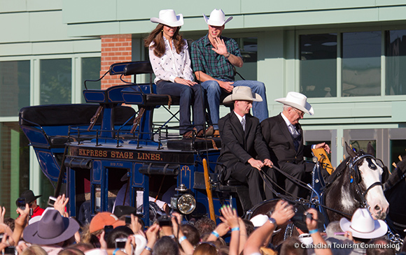 William and Kate ride into Calgary