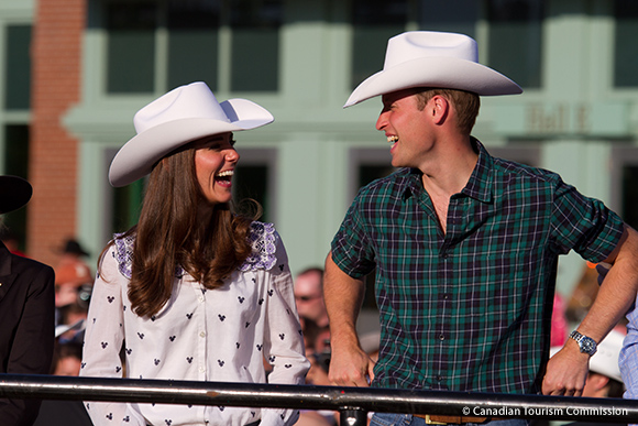 William and Kate in their white cowboy hats