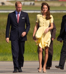 Kate wore a yellow Jenny Packham dress and L.K. Bennett accessories in Calgary.