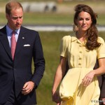 Kate wore a yellow Jenny Packham dress and her nude L.K. Bennett Pumps and Natalie Clutch bag in Calgary