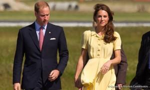 Kate wears yellow Jenny Packham dress in Calgary