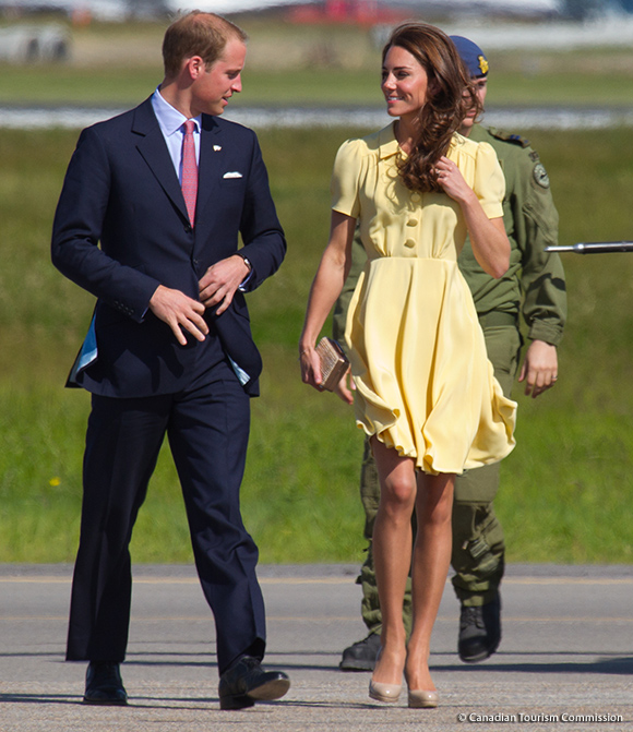 Day 8, William and Kate visited Calgary, wearing a Yellow Jenny Packham dress