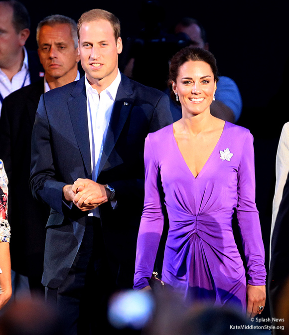 Kate looks stunning in a vibrant purple dress by Issa London