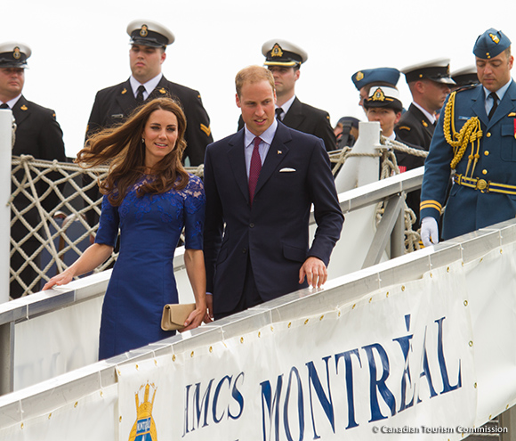 The Duke and Duchess of Cambridge disembark from the HMCS Montreal frigate after a morning worship service with crew members. Photo by Maurice Li.