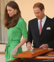 Kate attends a party before Mike & Zara's wedding, wearing her green DVF Maja dress