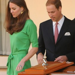 Kate recycles green DVF Maja dress for Zara & Mike's pre-wedding drinks