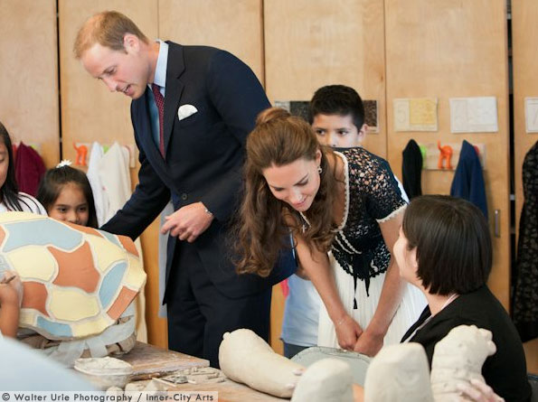 Kate wears whistles at the inner city arts