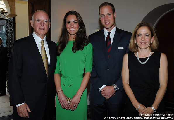 Kate wears green DvF Maja dress to reception in Los Angeles, California