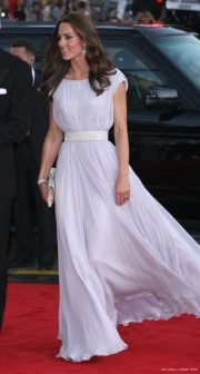 Kate Middleton wearing the lilac purple Alexander McQueen gown to the BAFTAs in 2011