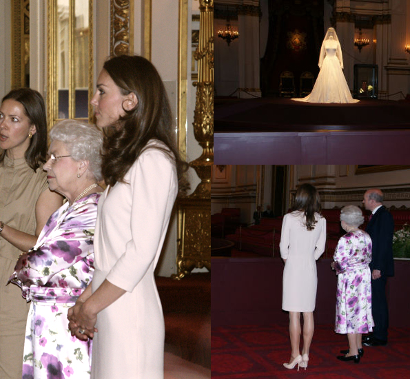 Kate wears Joseph Scala dress to wedding dress exhibition with The Queen