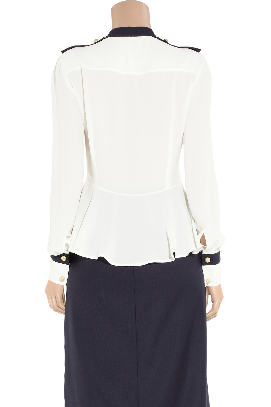 Alexander McQueen Silk-georgette Military Blouse in white and navy blue