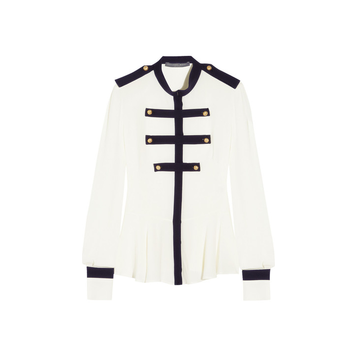 Alexander McQueen Silk Military Blouse