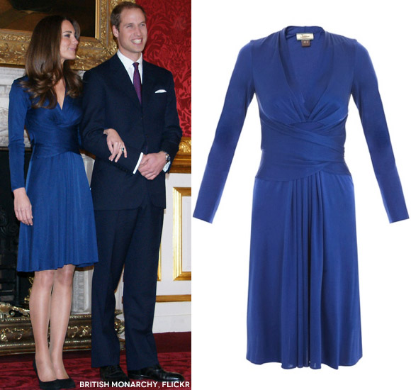 Kate Middleton Wearing The Blue Issa Wrap Dress For Engagement Announcement