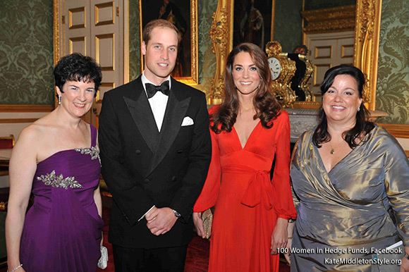 Duke and Duchess of Cambridge with the 100WHF Board Chair, Anne Popkin and 100WHF Executive Director, Amanda Pullinger, at 2011 London Gala
