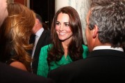 Kate wore a green Mulberry dress to the Buckingham Palace press reception. Photo © British Monarchy Flickr