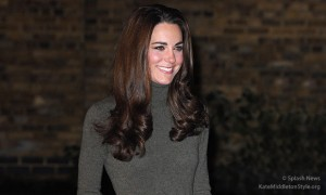 Kate wears olive green Ralph Lauren dress for Centrepoint visit