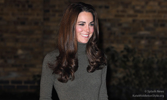 Kate visits Centrepoint wearing a Ralph Lauren dress & Aquatalia boots