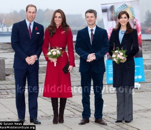 Kate wears red L.K. Bennett Ami coat & Stuart Weitzman boots for visit to Unicef Copenhagen, Denmark