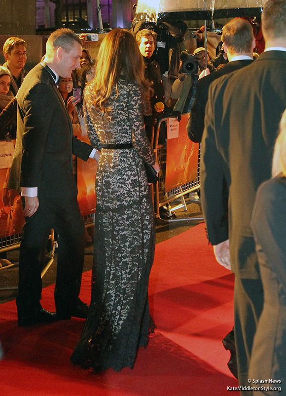 Kate wears a Temperley London Amoret Dress in black lace