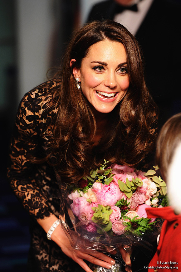 Kate in her diamond earrings at the War Horse Premiere