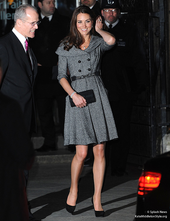Kate wore a grey Jesire coat dress to the National Portrait Gallery