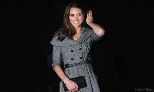 Kate in grey Jesire Coat Dress at the National Portrait Gallery