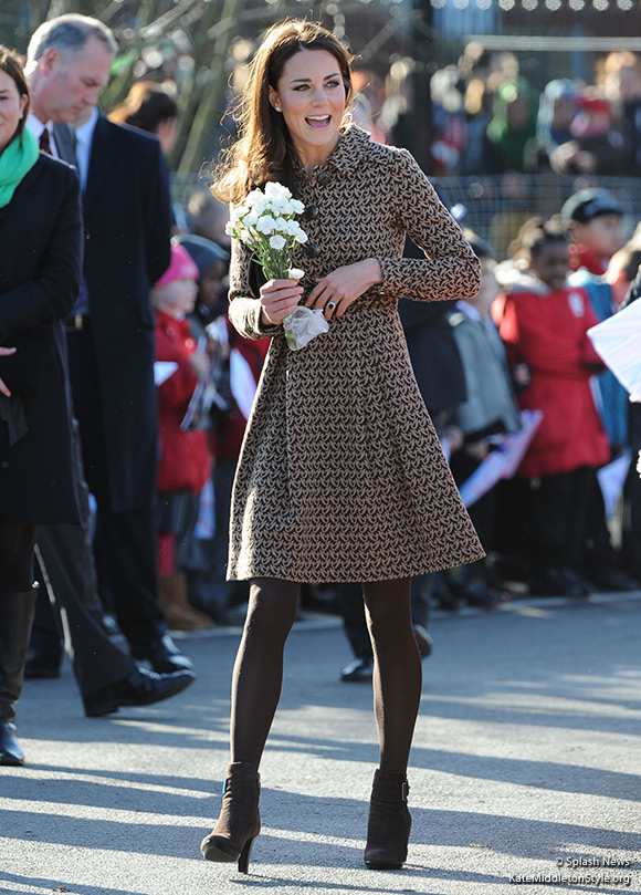 Kate wore Orla Kiely and Aquatalia during a visit to The Art Room charity in Oxford