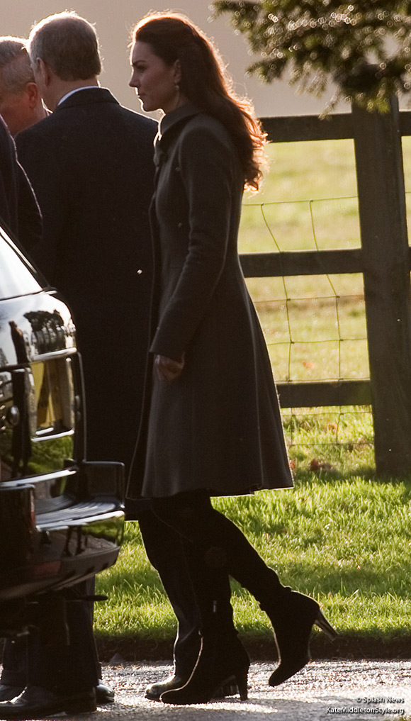 The Duchess of Cambridge wears her Reiss Angel coat as she walks around the grounds of Sandringham on Christmas Day 2011
