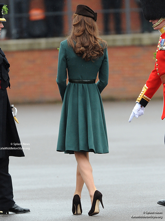 The back of Kate's coat dress.  You can see her curled hair too.