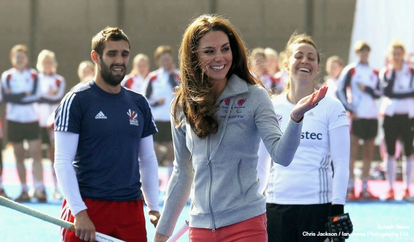 LONDON, ENGLAND - MARCH 15: Catherine, Duchess of Cambridge plays hockey with the GB hockey teams at the Riverside Arena in the Olympic Park on March 15, 2012 in London, England. The Duchess of Cambridge viewed the Olympic park as well as meeting members of the men's and women's GB Hockey teams. (Photo by Chris Jackson - Supplied by Ian Jones Photography Ltd)