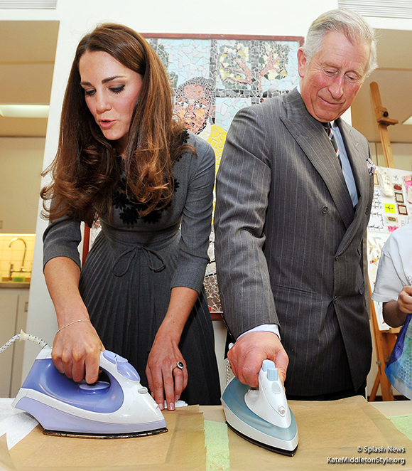 William and Kate ironing their transfers onto silk