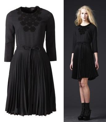 Orla Kiely grey pleated dress with black applique