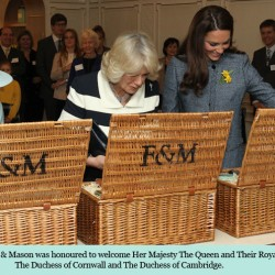Kate wears blue tweed M Missoni coat for tea with The Queen & Camilla at Fortnum & Mason