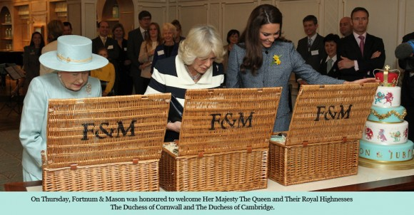 The three generations of royals open their hampers. Image © Fortnum and Mason