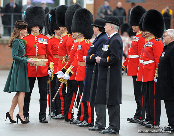 Kate presents shamrock posies to The Irish Guard