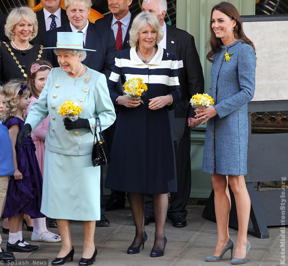 Kate with the Queen and Camilla at Fortnum and Mason