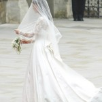 A stunning photo showing Kate's viel and wedding dress