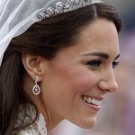 A close up of Kate's tiara, earrings and makeup on her wedding day