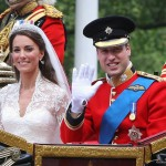 William and Kate wave from the carriage on their wedding day